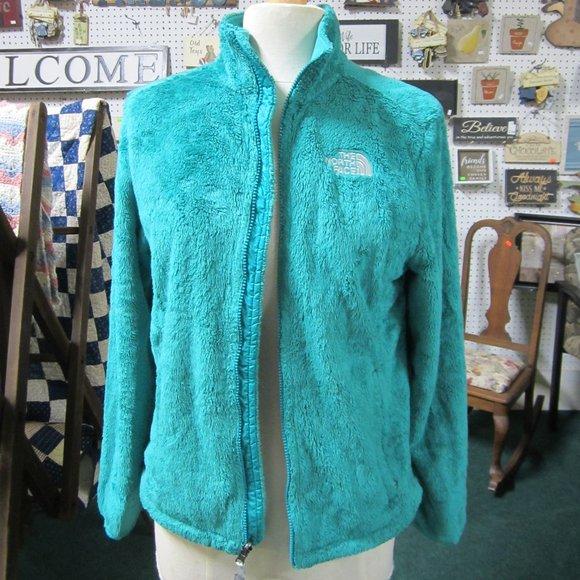 North Face M Teal Green  fleece Zip front jacket